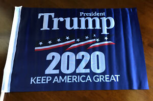 """12 NEW PRESIDENT TRUMP 2020 KEEP AMERICA GREAT 12"""" By 18"""" Flags. Clip Attachment"""