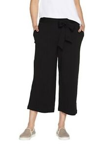 AnyBody Cozy Knit Wide Leg Cropped Pants Black Small A302402