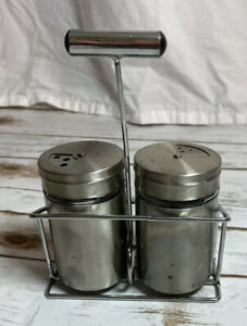 Stainless Steel Salt and Pepper Shakers  Adjustable Pour Holes Matching Caddy