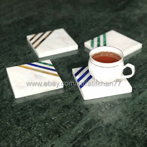 Modern Coasters With Holder Hand Made Marble Inlay Abstract Coaster Set of 4
