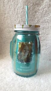 THE PIONEER WOMAN 32 OZ ROSEWATER JAR W/ LID & STRAW COLOR: GREEN