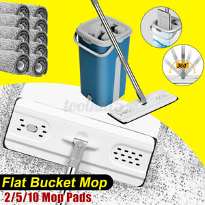 Wet Dry Dual Use Squeeze Mop with Bucket Set 360° Rotatable Flat With Mod Pads