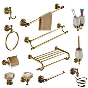 Bathroom Accessories set Antique Brass Collection Carved Bathroom Products wall