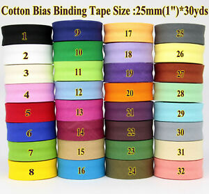 25mm 1quot; Width Cotton Bias tapebias binding tape 30yds lot single fold tape $16.50