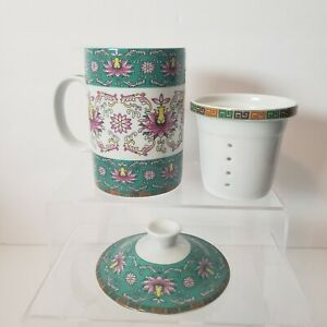 World Market Ceramic Tea Cup with Lid and Infuser Green Floral Print Coffee Mug
