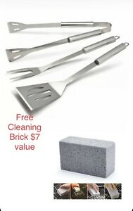 Stainless Steel 3Piece Barbecue BBQ Tool Set Top Quality Free 1pc cleaning block