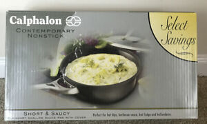 New Calphalon Nonstick Short & Saucy 2-1/2 Quart Shallow Sauce Pan With Cover