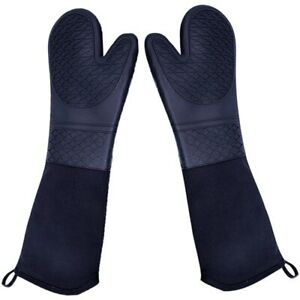 Extra Long Silicone Oven Mitts Heavy Duty Commercial Grade Oven Mitts Heat Y9W2