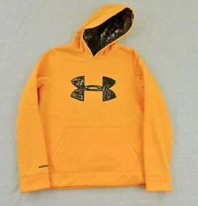 UNDER ARMOUR STORM CALIBER NWOT Boys Sz Large Yellow Camo Logo Fleece Hoodie $19.79