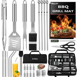 31PC Heavy Duty BBQ Grilling Accessories Grill Tools Set - Stainless...