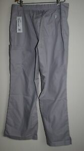 BUTTER SOFT SILVER GREY SCRUB PANTS FRONT CROSSOVER ELASTIC WAISTBAND XL MEDICAL