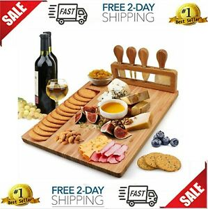 Bamboo Cheese Board Set, Charcuterie Platter and Serving Meat Board Including 4