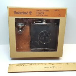 Sealed TIMBERLAND LEATHER Covered 6 oz Stainless Steel FLASK w/ Filling Funnel