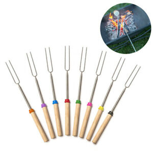 1/8PCS Telescoping BBQ Marshmallow Roasting Sticks Smores Skewers Hot Dog Fork