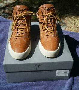 Giuseppe Zanotti Brown Mens Sneakers 2 Zipper Used Boots Size 43 Croc Look 10M