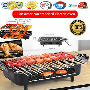 Electric Grill Portable Smokeless Non-Stick Cooking BBQ Griddle Indoor