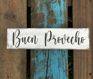 Handmade rustic farmhouse style wood sign. Spanish wooden sign. buen provecho