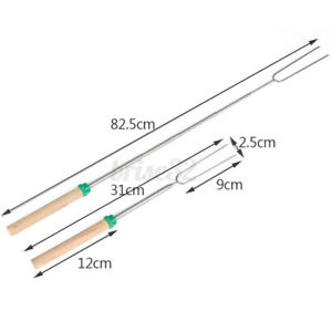5Pcs Telescoping Roasting BBQ Fork Sticks Camping Campfire Hot Dog Skewer H