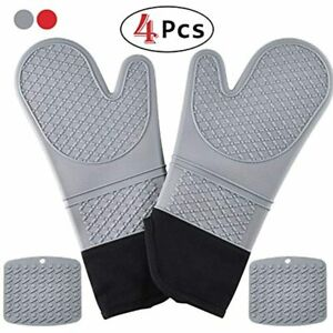 HmiL-U Silicone Oven Mitts Pot Holders-1 Pair Of Extra Long Heat Resistant Up To