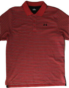 Mens Under Armour Red Striped Golf Polo Shirt Size Large🔥 $20.64
