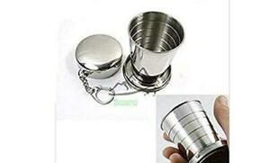 Stainless Steel Portable Outdoor Travel Camping Folding Collapsible Cup Metal Te