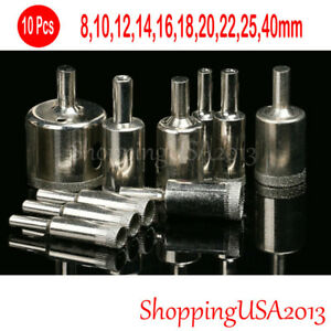 10 pcs 8-40mm Diamond tool drill bit hole saw set cutter glass ceramic marble@