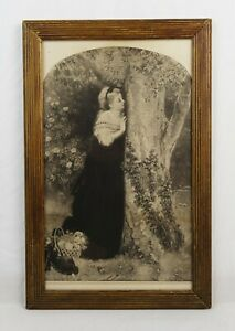 Antique 19th Century Victorian Lithograph Print of Romantic Woman Scene $85.00