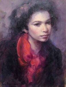 PORTRAIT OF YOUNG WOMAN. OIL PAINTING ON CANVAS. SIGNED. SPAIN. 1999 $600.00