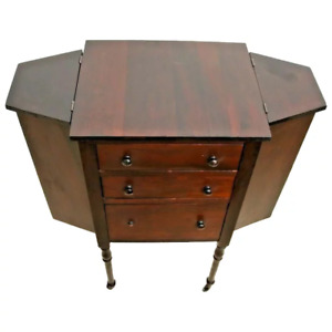 Rare Antique Table Sewing and Knitting Organizer caster wheels solid Mahogany $446.25