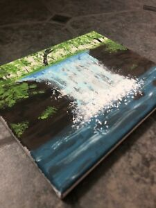 "Handmade ""Forest waterfall"" acrylic painting on small 10 x 8 canvas"