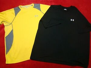 Lot of 2 Under Armour Mens Black Yellow Gray Reflective Running Shirts Size XL $23.99