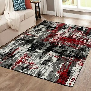 area rug Oxfrd5 Modern gray black red white soft pile size 2x3 3x5 5x7 8x11