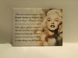 MARYLIN  MONROE  CANVAS PRINT I BELIEVE EVERYTHING HAPPENS FOR A REASON 10 X 7.5