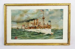 Antique 19th Century Lithograph Print United States Navy Battleship USS Maine $75.00