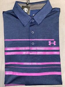 NWT Men's Under Armour Loose Fit Golf Polo, Navy Blue and Pink, Medium $10.99