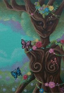 ACEO original fantasy forest spirit tree guardian miniature OOAK acrylic art