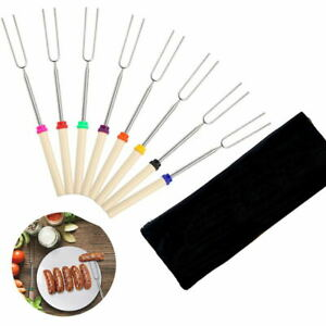 8PC Set 32'' Telescoping BBQ Fork Marshmallow Roasting Sticks Skewers Hot Dog
