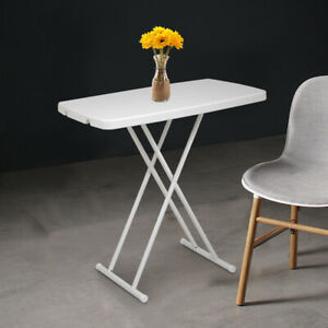 Square Plastic Folding Card Table Lifting Desk 30x20 in Height Adjustable White $35.99
