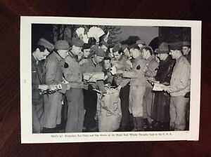 1943 vintage Original magazine photo Troops Line Up For Roll Call WWII $6.99