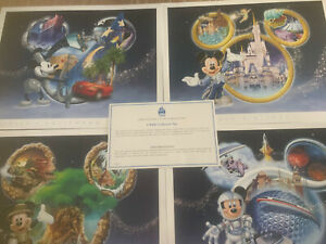 Set of 4 Walt Disney World Park Collector Lithograph Mickey W Certficate 14x11 $22.00