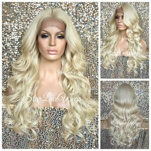 Lace Front Wig Platinum Blonde Long Curly Layers Middle Part Heat Safe $54.95