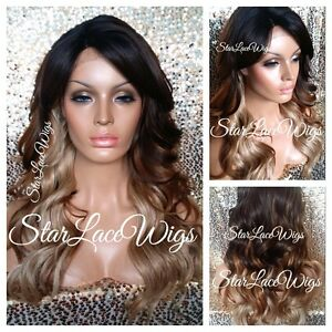 Synthetic Lace Front Wig Ombre Long Loose Waves Brown Blonde Layers Heat Safe Ok $53.05