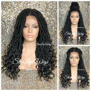 Long Lace Front Wig Faux Locs 4x4 Parting Space Off Black #1b Curly Glueless $131.90