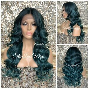 Lace Front Wig Long Curly Green Dark Roots Layers Middle Part Heat Safe Glueless $54.95