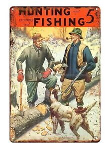 Hunting and Fishing 1938 Grouse hunting metal tin sign wall restaurant pub sale