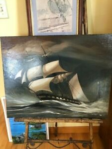 Antique Maine Clipper Ship Oil on canvas painting signed circa 1900 $450.00