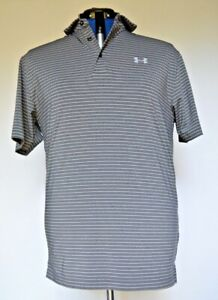 Under Armour Loose Striped Heather Gray Golf Polo Shirt Men's Medium 1253479 $16.00