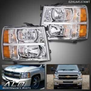 For 07 13 Chevy Silverado 1500 2500 3500 Amber Headlights Chrome Replacement $93.99