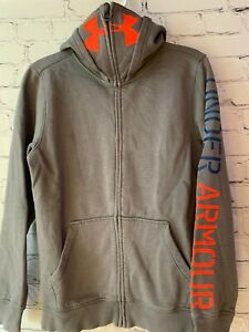EUC Boys Under Armour Hoodie Sweatshirt Full Zip Size M Loose Fit Cold Gear $9.99