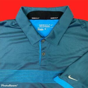 Nike Golf Mens Dri Fit Golf Polo Shirt Tour Performance Turquoise Blue Green XL $21.95